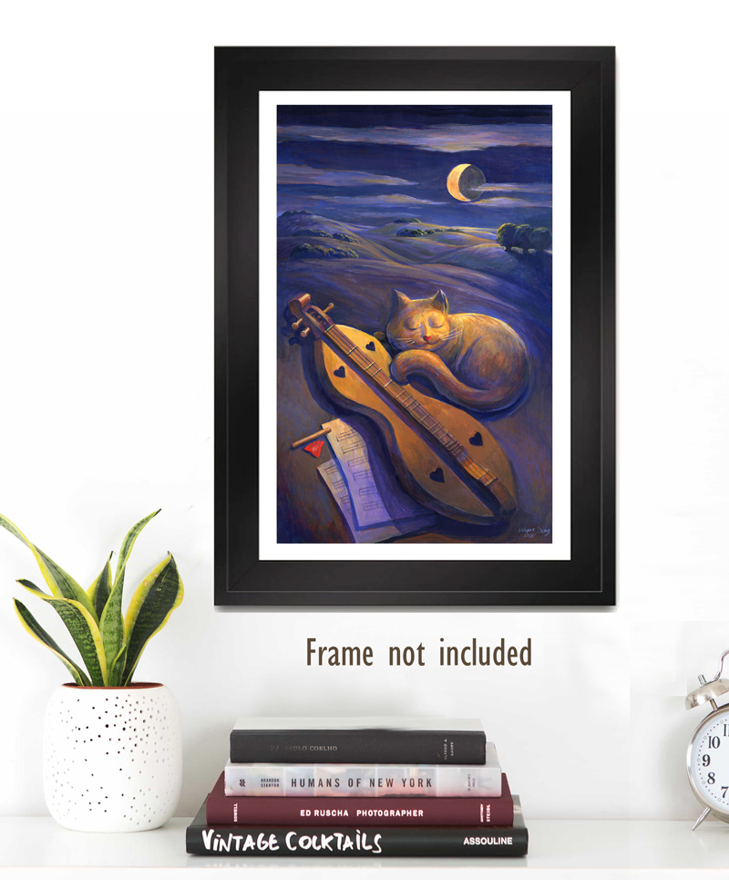 Sleeping Cat and Dulcimer Poster in Frame